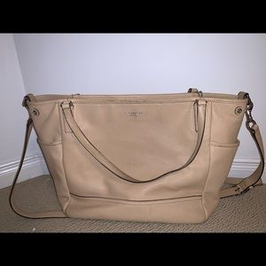 Leather Coach Diaper Bag